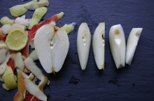 Pears- Peeled, halved, quartered and cored