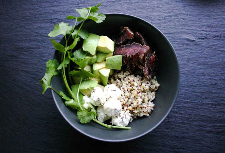 TheGoodGreeff Biltong bowl #1 with chevin cheese rounds, coriander and avocado