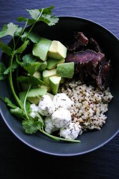 Biltong bowl #1 with chevin, avocado and coriander