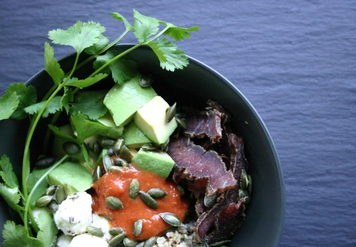 Biltong bowl #1 with chevin, avocado, coriander and sun dried tomato