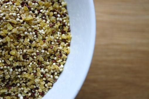 Uncooked Quinoa and Bulgur Wheat