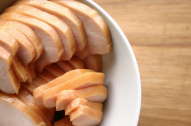 Sliced smoked chicken breast