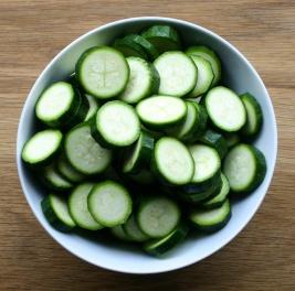 Sliced zucchini/ courgettes