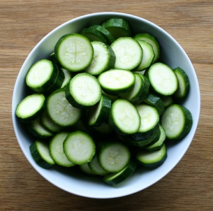 Sliced zucchini/ courgettes