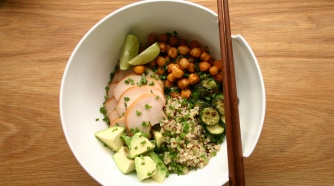 Quinoa bowl with smoked chicken, roasted zucchini, harissa roasted chickpeas and avocado