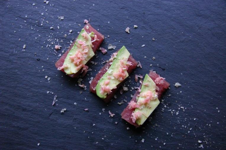 TheGoodGreeff Tuna Sashimi with Wasabi Avocado Chopped Ginger and Smoked Salt