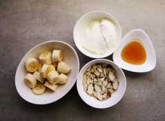 Almond and banana smoothie ingredients