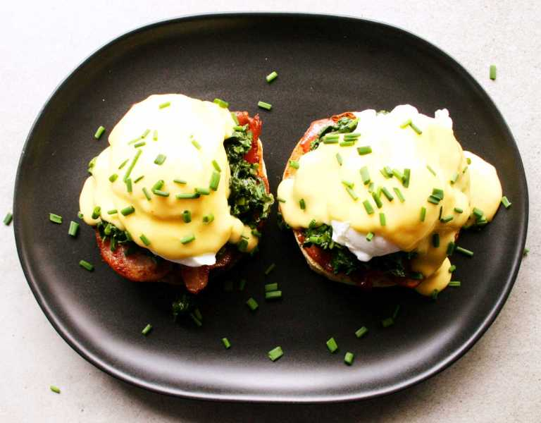 Eggs florentine - english miffin with bacon, creamed spinach, poached eggs and hollandaise with garnish - thegoodgreeff.com.jpg