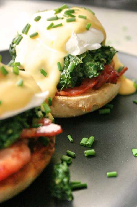 Eggs Florentine with poached pullet eggs, bacon and hollandaise sauce