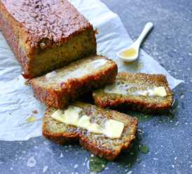 Banana Bread, egg free, served with butter and honey