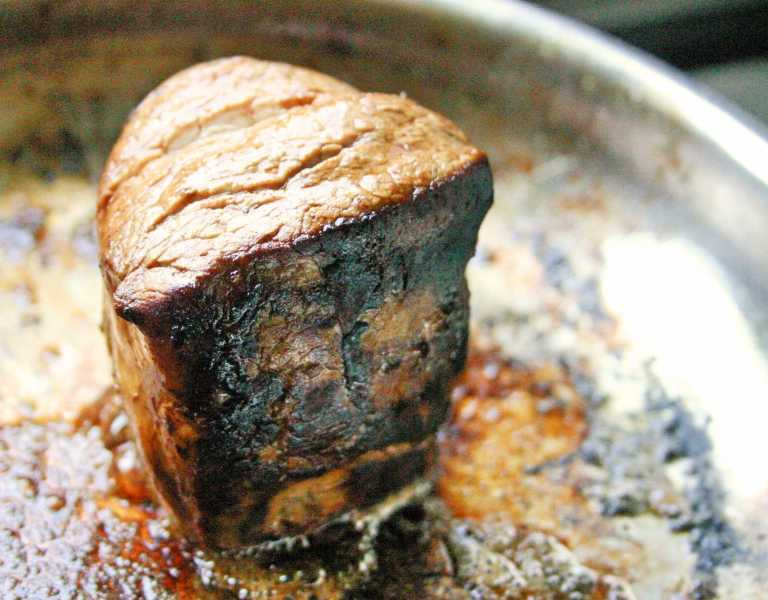 Steak Frites- cooking the beef fillet-  thegoodgreeff.com.jpg