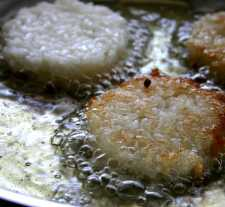 Sushi Pizza- formed rice patties fried golden brown