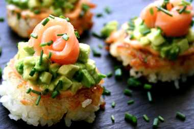 Sushi Pizza with sriracha mayonnaise, avocado and salmon- serve with pickled ginger and sweet Indonesian soy