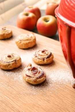 Home made apple butter & puff pastry roll-ups