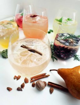 Six simple syrups with soda