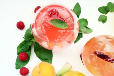 Raspberry basil simple syrup with lime
