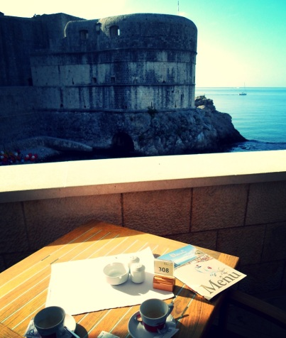 Morning Coffee with the Dubrovnik wall