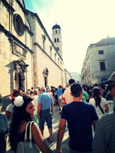 Casually strolling along-Dubrovnic peak season tourists