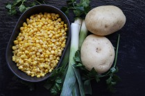 Potato, leek and sweetcorn soup with Italian flat leaf parsley