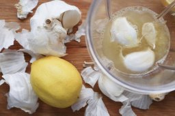 Fresh Garlic (skins and all) blended with lemon juice and strained before use