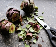 Step 6: Using kitchen shears, trim the remaining leaves to remove all thorns and woody tips. You should be left with fleshy leaves and trimmed, peeled stems.