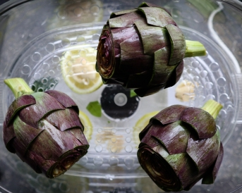 Step 9: Add your artichokes to the steamer