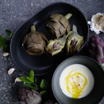 Artichokes with honey, truffle, yogurt and smoked salt