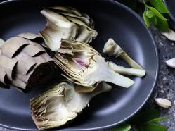 Halved artichokes