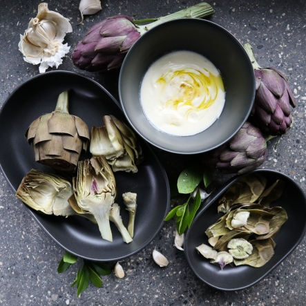 Artichokes with honey-truffle yogurt dip