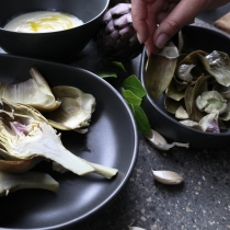 Artichokes with truffle, honey, yogurt and smoked salt dip